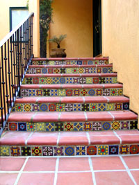 image of a deco tile stairway